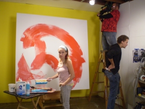 Painting for a video shoot